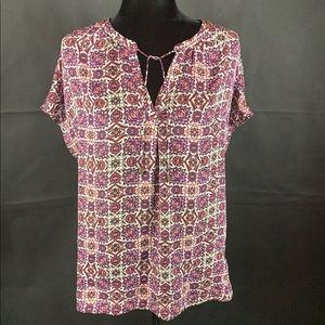 Liz Claiborne Blouse - Purple Floral Print